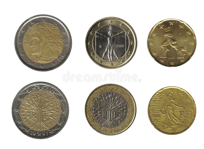 Italy and France, coins royalty free stock image