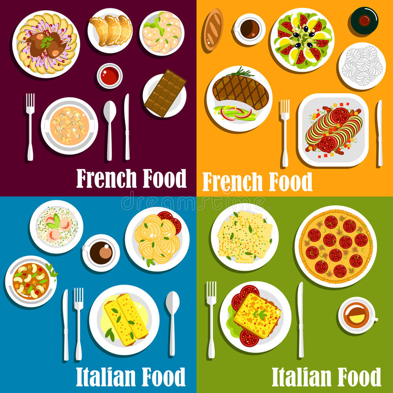 Italy And France Cuisine Dishes Stock Vector Illustration Of - Is france in italy
