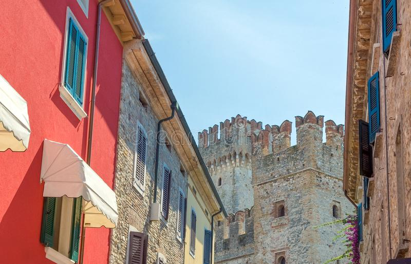 The colorful villages on the Garda Lake. Italy,Garda lake, Sirmione, the colorful houses of the village royalty free stock photography
