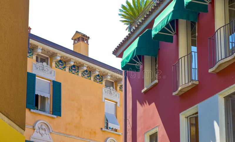 The colorful villages on the Garda Lake. Italy,Garda lake, Sirmione, the colorful houses of the village royalty free stock photo