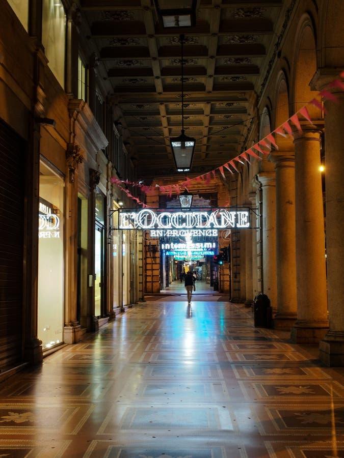 Italy, Genoa - Closed Shopping Center at Night royalty free stock images