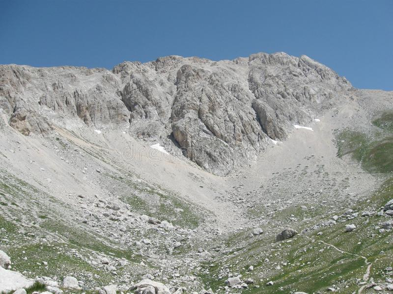 Italy, Gran Sasso National Park, view of Campo Imperatore side of big peak royalty free stock photos
