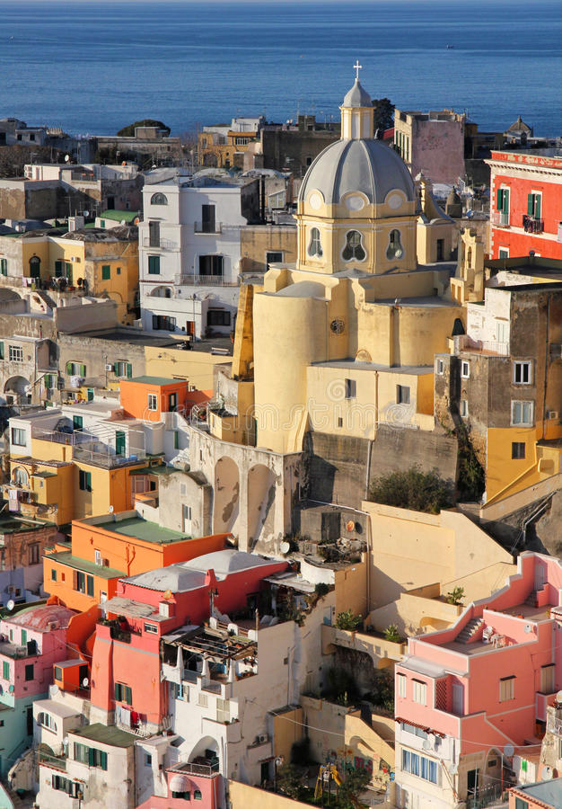 Italy. Gulf of Naples. Procida island. Colorful houses of Corricella stock images