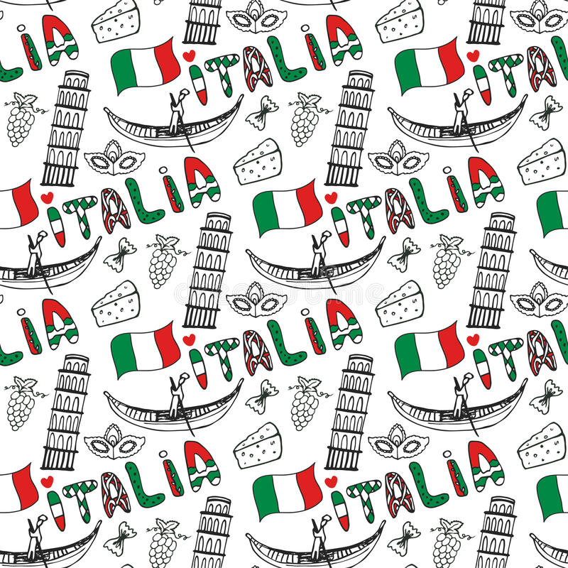 Italy hand drawn seamless pattern with flag. Vector travel background. Italia lettering in italian language vector illustration