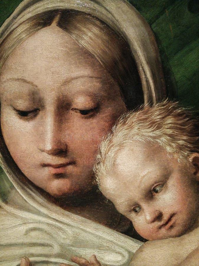 Italy Herança artística Madonna del latte, Madonna que mama a criança de Cristo, por Pedro Machuca Detalhe com as caras foto de stock