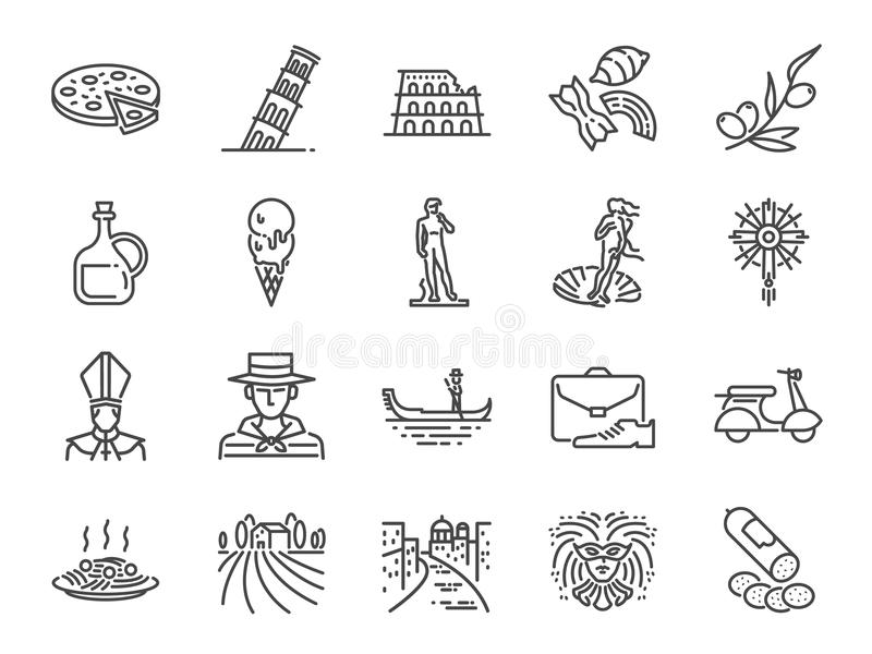 Italy icon set. Included icons as Venice, Gondola, Pizza, Olive oil, Salami, Italian food and more. Vector and illustration: Italy icon set. Included icons as vector illustration