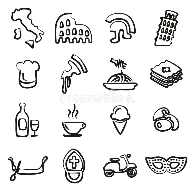 Italy Icons Freehand. This image is a illustration and can be scaled to any size without loss of resolution royalty free illustration