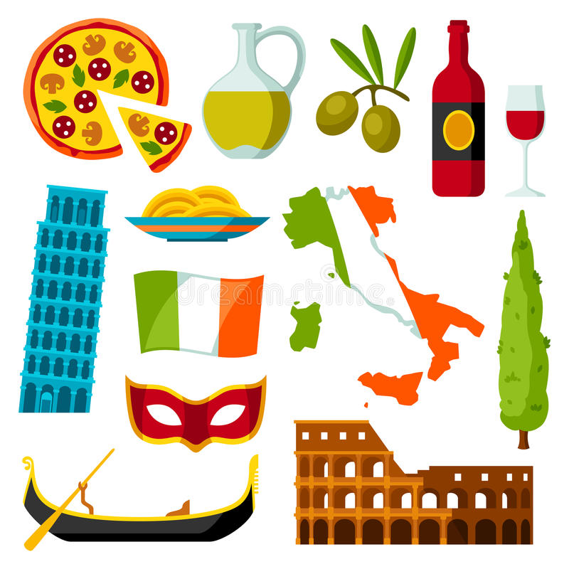 Italy icons set. Italian symbols and objects vector illustration