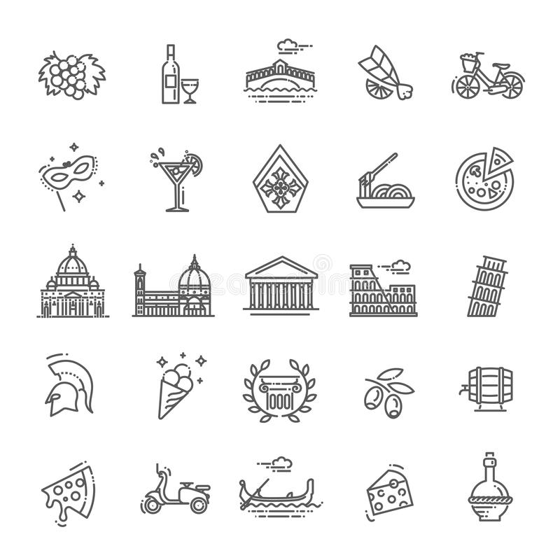 Italy icons set. Tourism and attractions, thin line design. stock illustration