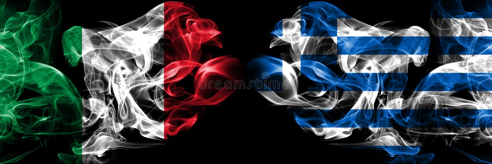 Italy, Italian, Greece, Greek competition thick colorful smoky flags. European football qualifications games royalty free illustration