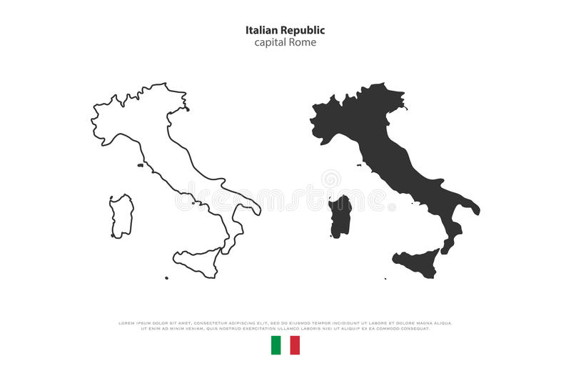 Italy. Italian Republic isolated map and official flag icons. set of Italy political maps icons. Mediterranean, European country geographic banner template royalty free illustration