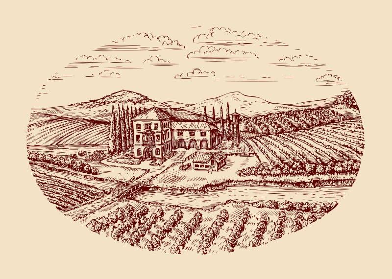 Italy. Italian rural landscape. Hand drawn sketch vintage vineyard, farm, agriculture, farming. Italy. Italian rural landscape. Hand-drawn sketch vintage royalty free illustration