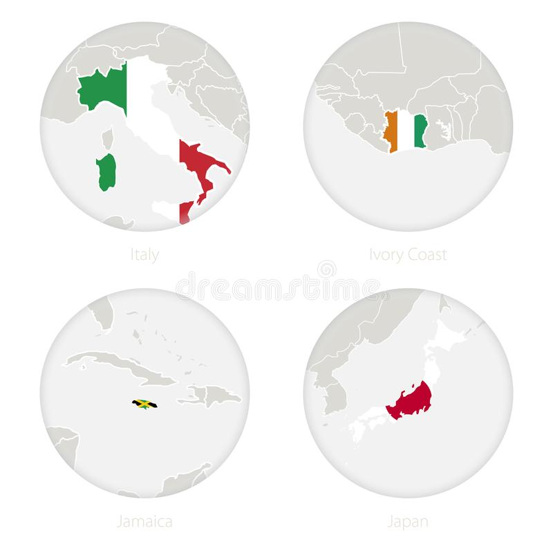 Italy, Ivory Coast, Jamaica, Japan map contour and national flag in a circle vector illustration
