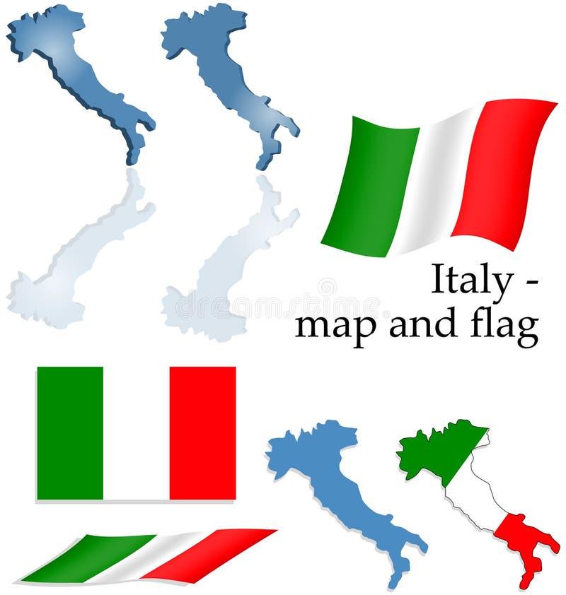 Italy - jogo do mapa e da bandeira ilustração stock