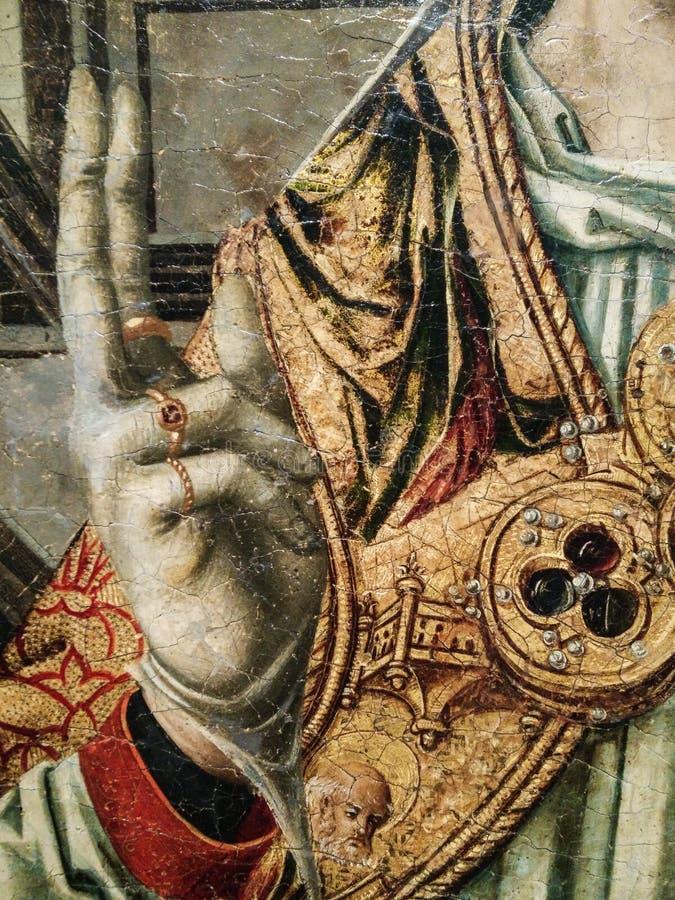 italy Konstnärligt arv Retablo di Sant 'Eligio en dubbel triptyk, avslutar med predellaen och polvarolo vid förlagen av Sanluri arkivbild
