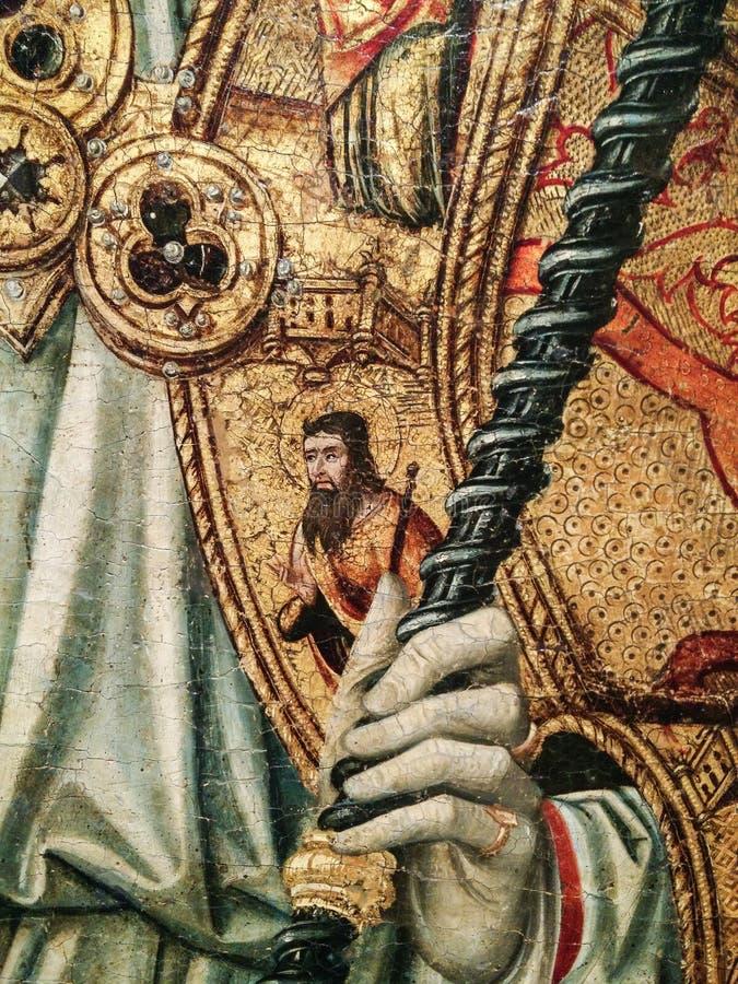 italy Konstnärligt arv Retablo di Sant 'Eligio en dubbel triptyk, avslutar med predellaen och polvarolo vid förlagen av Sanluri royaltyfria foton