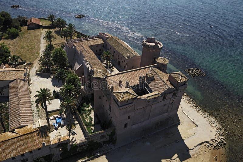 Italy, Lazio, Palo-Odescalchi Castle. Italy, Lazio, Ladispoli, aerial view of the tirrenian coast and the Palo-Odescalchi Castle (1500 a.c royalty free stock photo