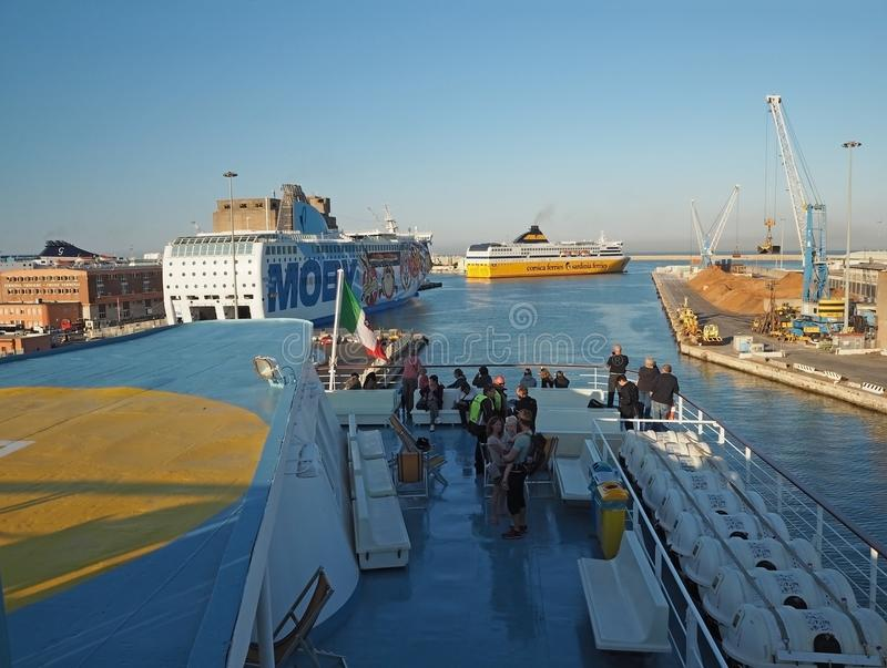 Italy, Livorno, JUNE 23, 2017: view from Corsican line ferry boa stock photography