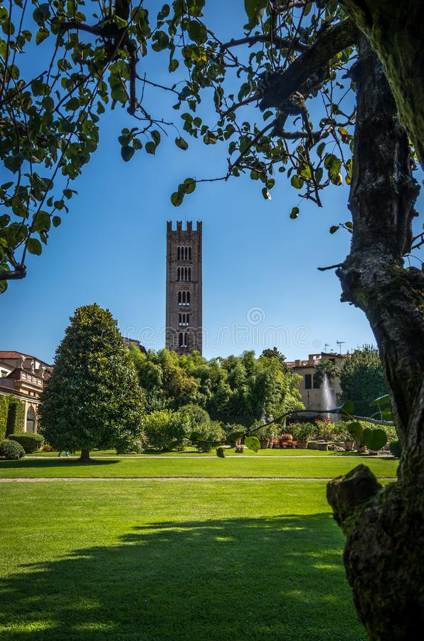 Italy, Lucca - September 13 2014: the view the garden of Palazzo Pfanner stock photography
