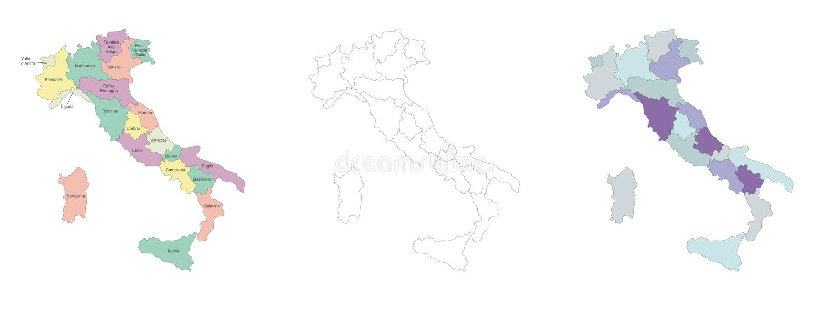 Download Italy map stock vector. Image of white, coloured, europe - 18494382