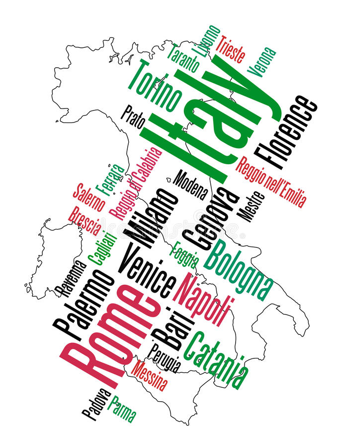 Italy map and cities. Italy map and words cloud with larger cities