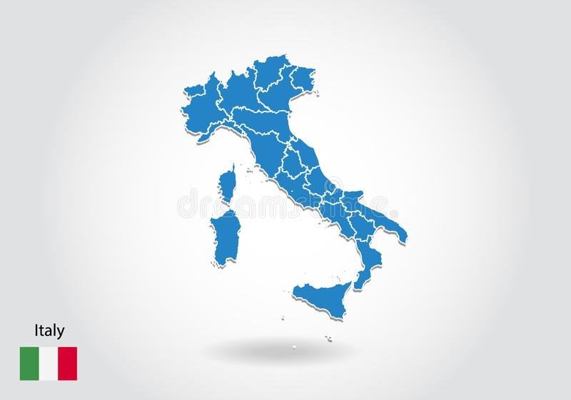 Italy map design with 3D style. Blue italy map and National flag. Simple vector map with contour, shape, outline, on white.  stock illustration