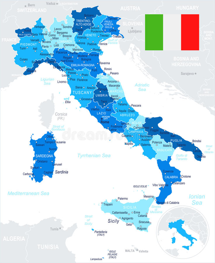 Italy Map And Flag Illustration Stock Illustration