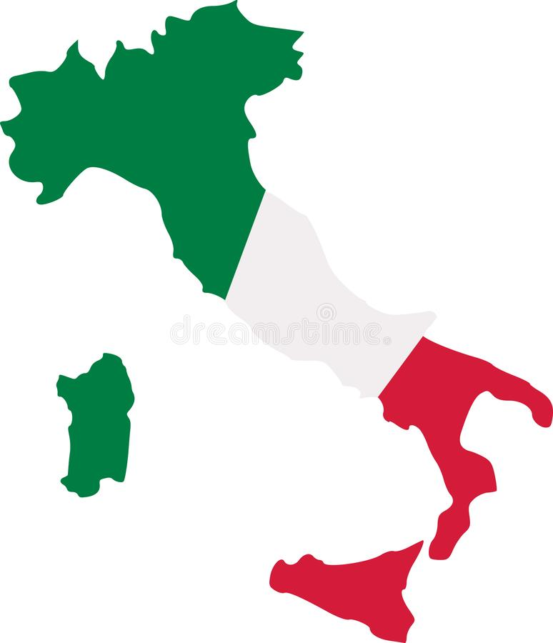 Italy map with flag vector illustration