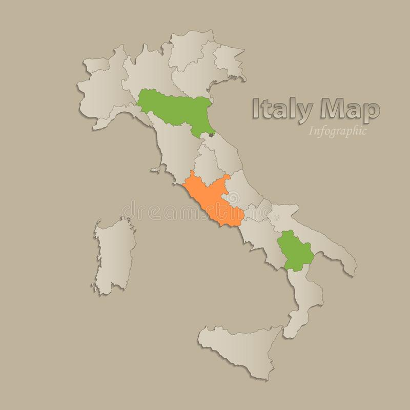 Italy map with individual states separated, infographics royalty free illustration