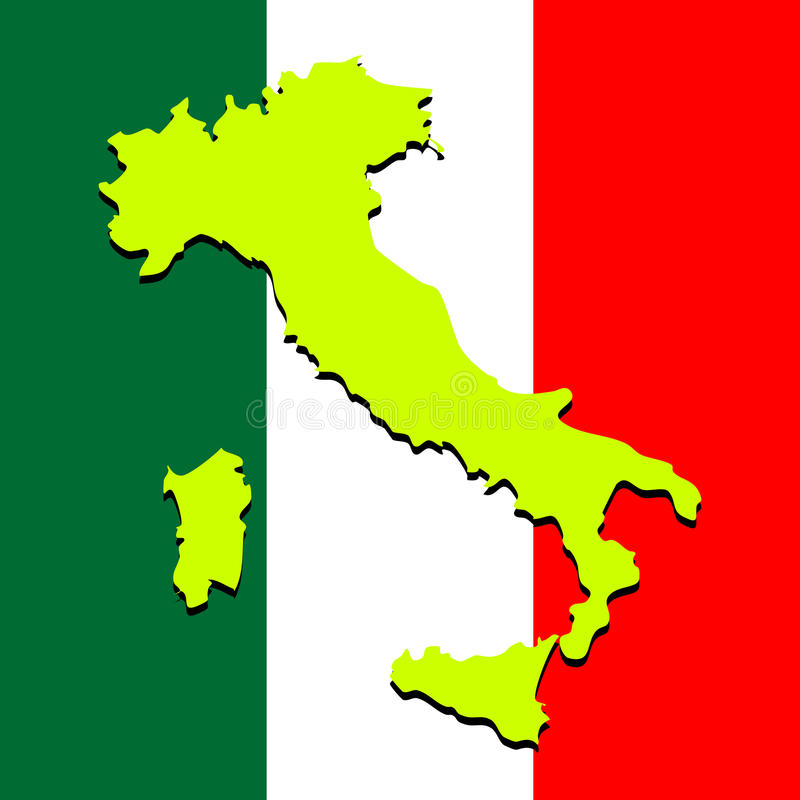 Download Italy Map Over National Colors Stock Vector - Image: 13843767