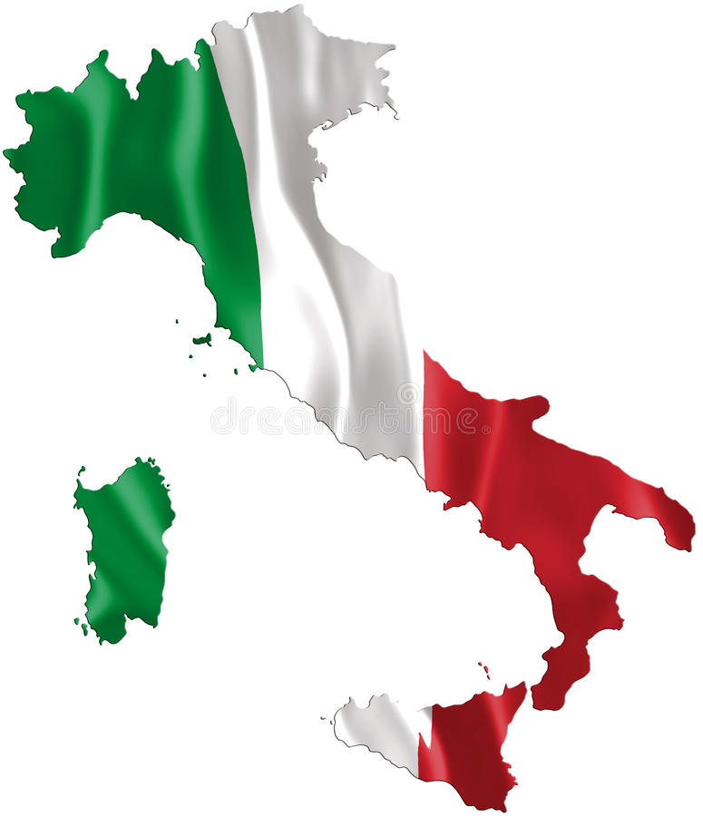 Italy map with waving flag. Three dimensional render, satin texture
