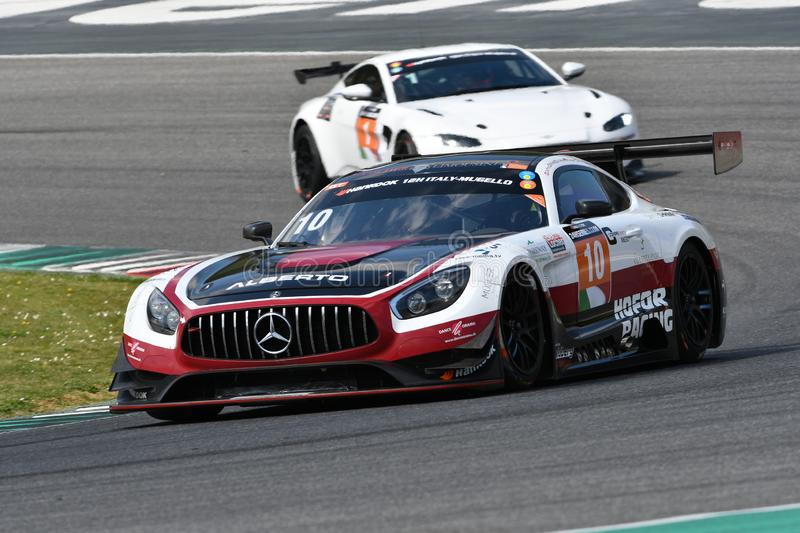 Italy - 29 March, 2019: Mercedes AMG GT3 of Hofor-Racing Switzerland Michael Kroll Team royalty free stock photos
