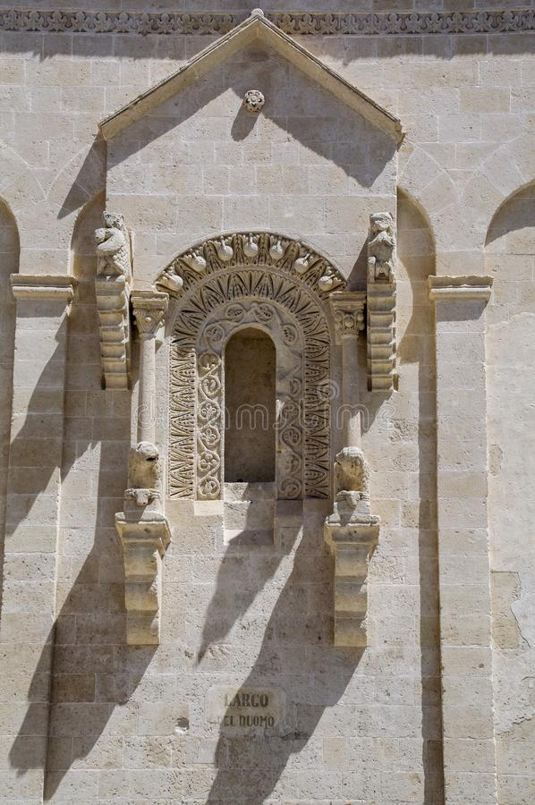 Italy. Matera. Cathedral of Madonna della Bruna and St Eustachio. Decorated window royalty free stock photo