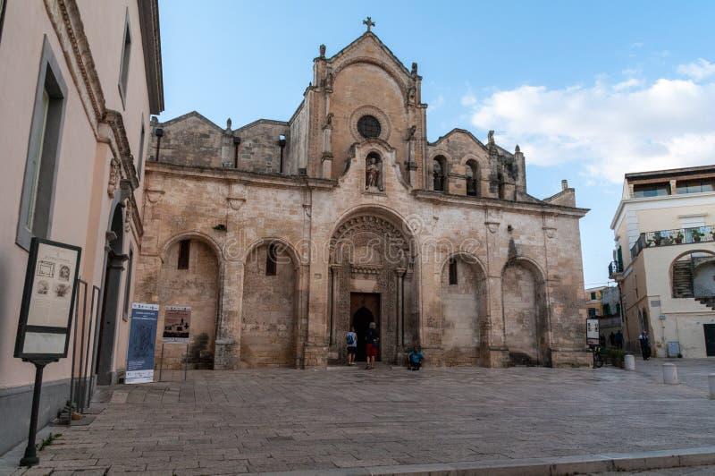 Italy. Matera. Church of St John the Baptist, 13th century. Main entrance on right wall stock image