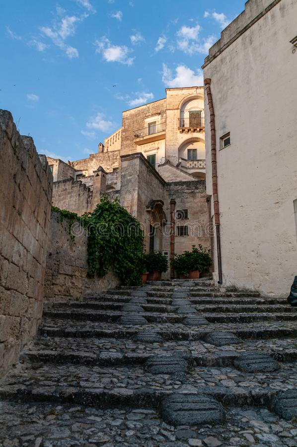 Italy. Matera. European Capital of Culture 2019. Glimpse of the ancient headquarters named Sassi royalty free stock photos