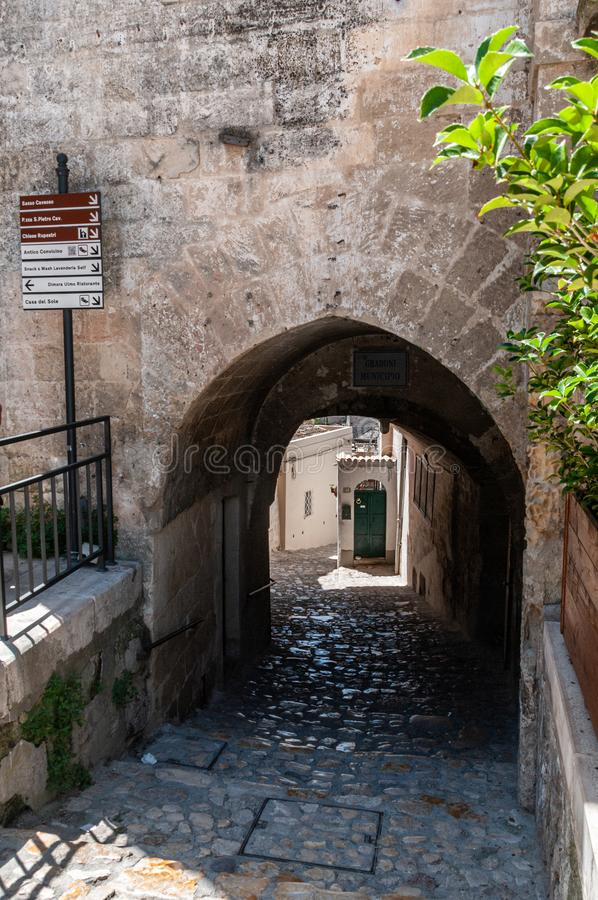 Italy. Matera. European Capital of Culture 2019. Glimpse of the ancient headquarters named Sassi. Between the buildings and the hypogeums of the Sassi there royalty free stock photos