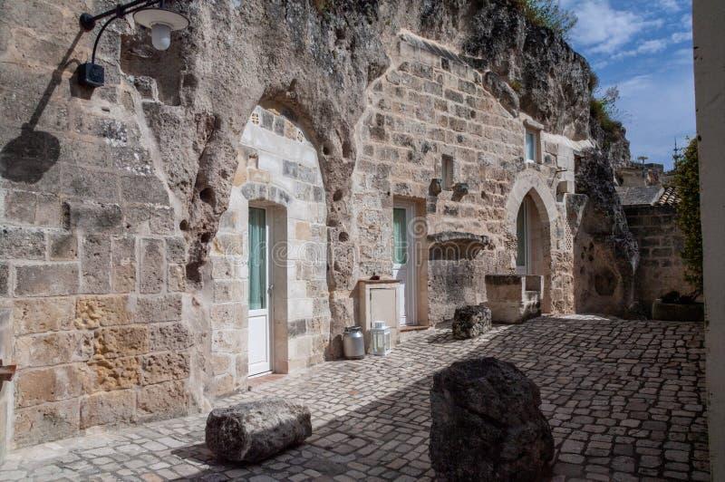 Italy. Matera. Glimpse of the Sasso Caveoso. Rupestrian architecture. Underground houses on Monterrone rocky outcrop. UNESCO World Heritage Site. European stock image