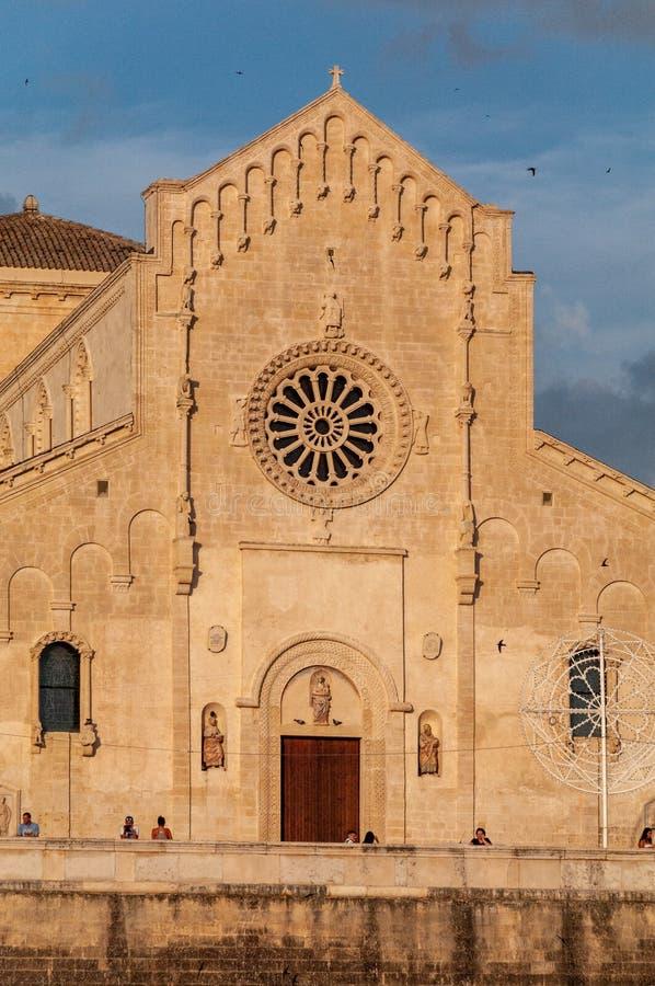 Italy. Matera. Pontifical Basilica - Cathedral of Maria Santissima della Bruna and Sant`Eustachio. stock photo