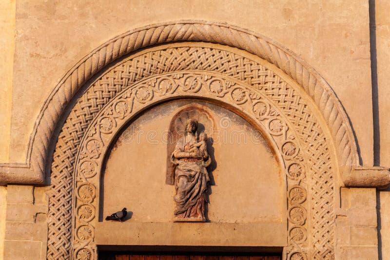 Italy. Matera. Pontifical Basilica - Cathedral of Maria Santissima della Bruna and Sant`Eustachio. Main facade royalty free stock images