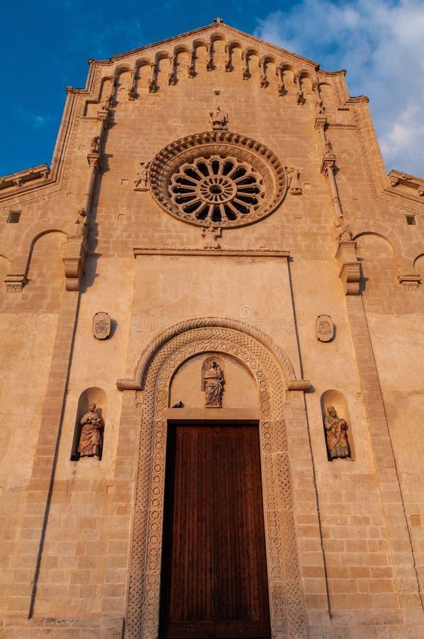 Italy. Matera. Pontifical Basilica - Cathedral of Maria Santissima della Bruna and Sant`Eustachio. Main facade stock photos