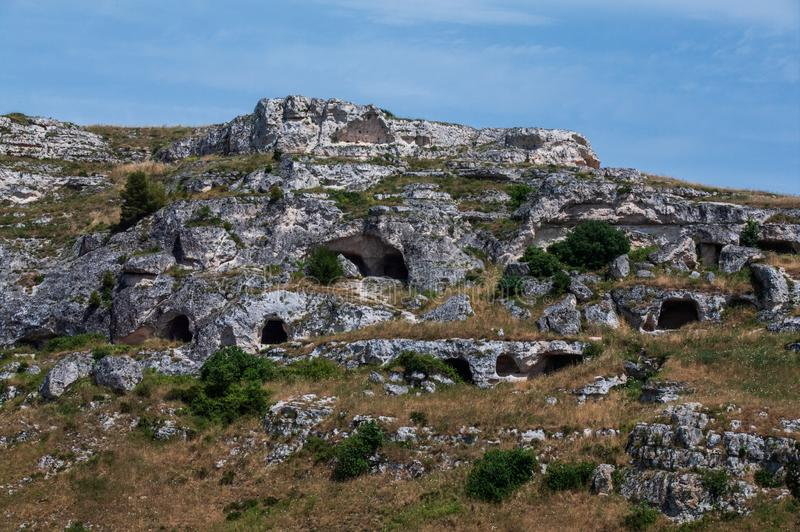 Italy. Matera. Regional Natural and Historical Park of the Rupestrian Churches of the Murgia Materana. Medieval rock monasteries royalty free stock photo