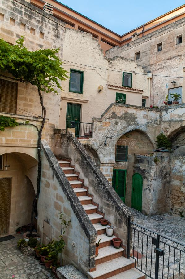 Italy. Matera. The Sassi. Tipical old houses with external staircase royalty free stock images