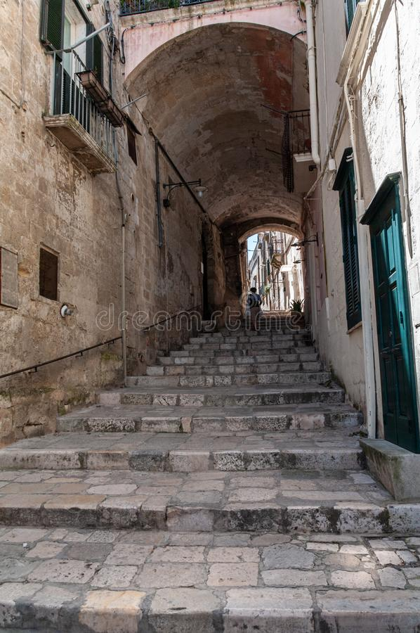 Italy. Matera. UNESCO World Heritage. Sasso Barisano. The Sassi. Covered stairway stock images