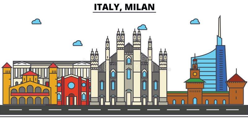 Italy, Milão Arquitetura da skyline da cidade editable ilustração do vetor