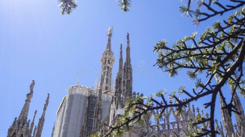 italy milano Tornspirorna av vit marmor som smyckar den hela domkyrkan r royaltyfri fotografi
