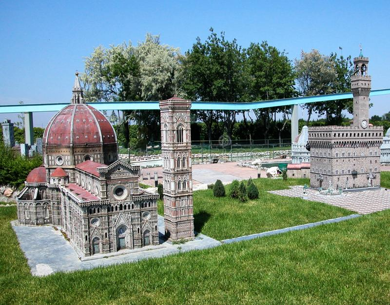 Main monuments of Florence in the theme park `Italy in miniature` Italia in miniatura Viserba, Rimini, Italy. `Italy in miniature` Italia in miniatura Viserba royalty free stock photo