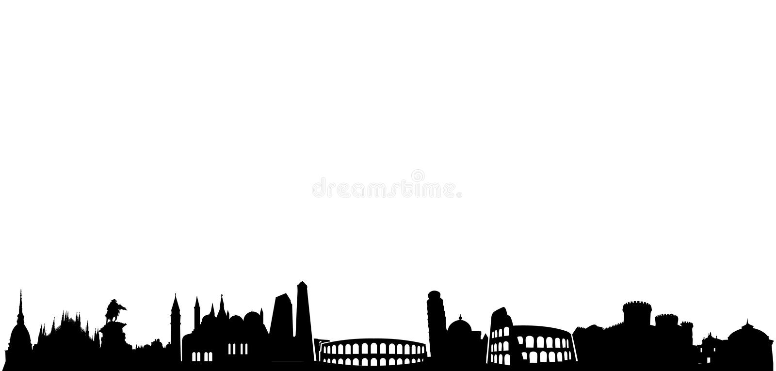 Italy monuments and landmarks. Vector illustrations of most famous italian monuments all in a row as silhouettes, as coliseum and other symbols of cities as