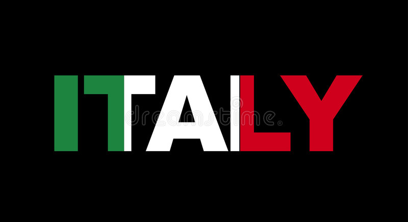 Italy name with flag stock illustration