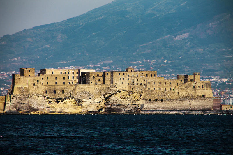 ITALY - NAPOLI - Caste dell'OVO. Castel dell'Ovo is a seaside castle located on the former island of Megaride, now a peninsula, on the gulf of Naples in Italy stock image