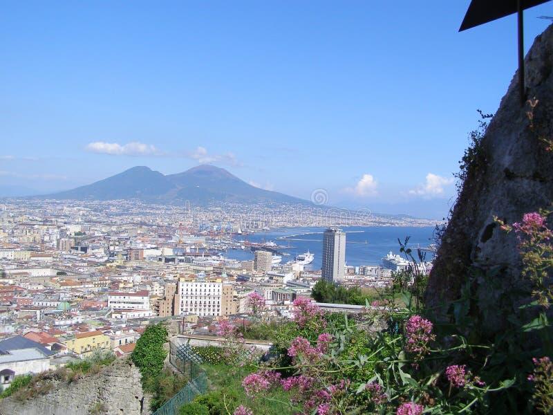Italy Neapol Mount Vesuvius Volcano. Italy Neapol Mount Vesuvius Vocano view from the Napoli Bay royalty free stock photography